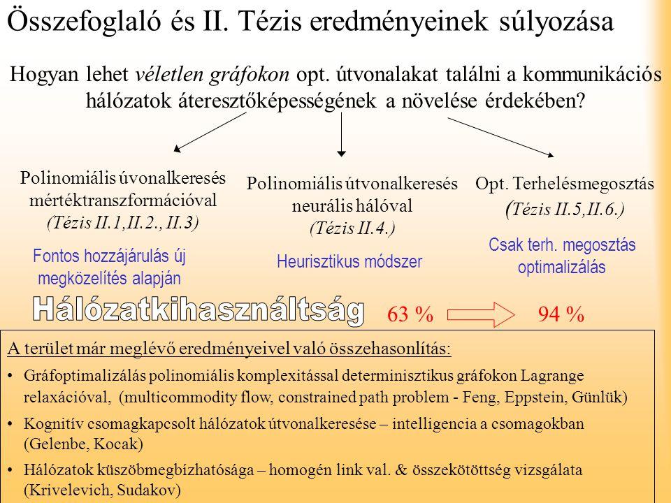 Összefoglaló és II. Tézis eredményeinek súlyozása