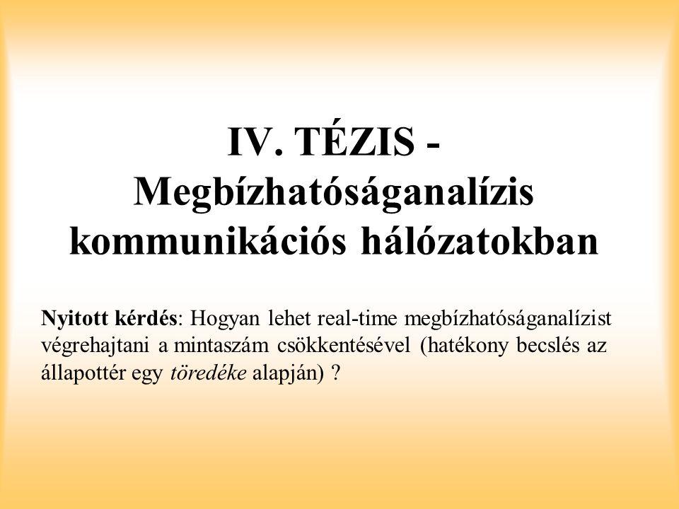 IV. TÉZIS - Megbízhatóságanalízis kommunikációs hálózatokban