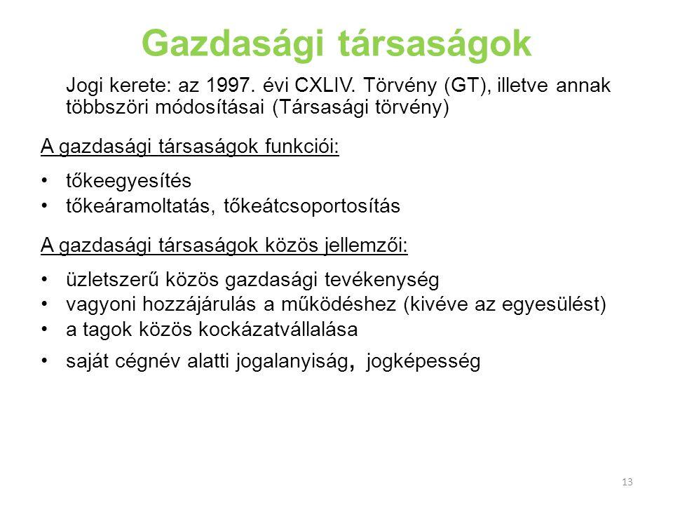 Gazdasági társaságok Jogi kerete: az 1997. évi CXLIV. Törvény (GT), illetve annak többszöri módosításai (Társasági törvény)
