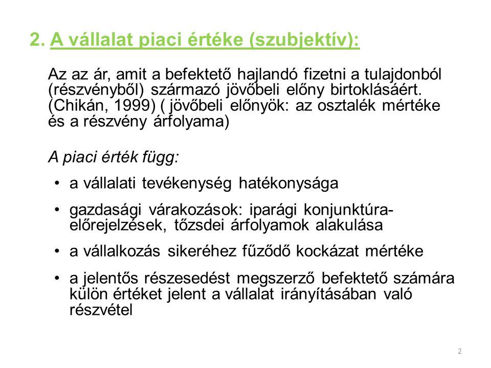 2. A vállalat piaci értéke (szubjektív):
