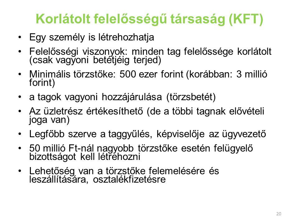 Korlátolt felelősségű társaság (KFT)