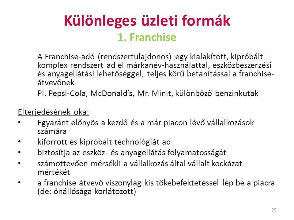 Különleges üzleti formák 1. Franchise
