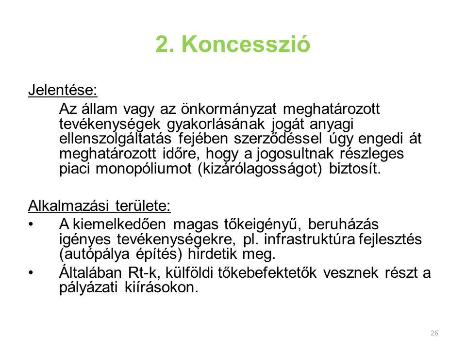 2. Koncesszió Jelentése: