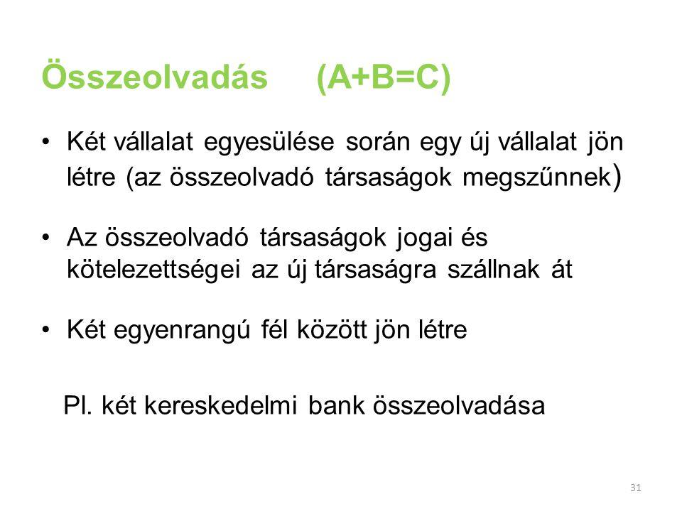 Összeolvadás (A+B=C) Két vállalat egyesülése során egy új vállalat jön létre (az összeolvadó társaságok megszűnnek)