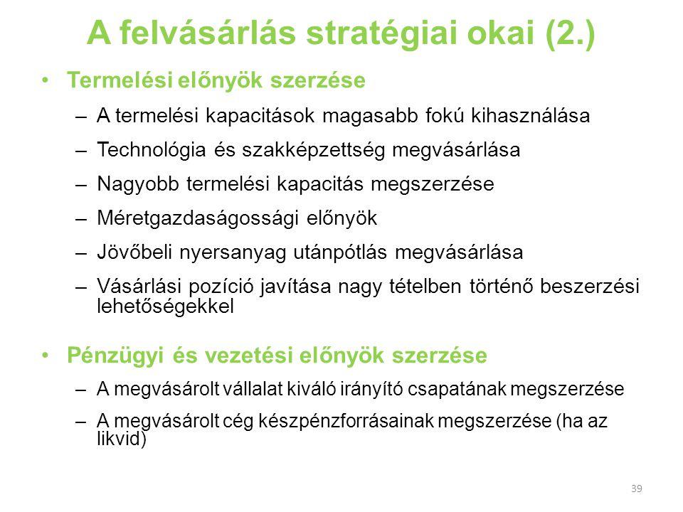 A felvásárlás stratégiai okai (2.)