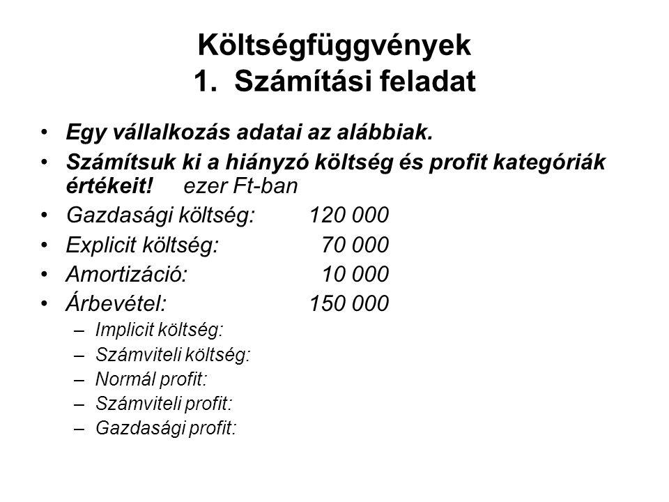 Költségfüggvények 1. Számítási feladat