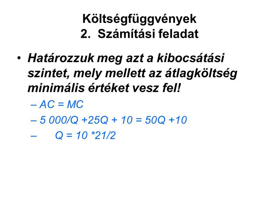 Költségfüggvények 2. Számítási feladat