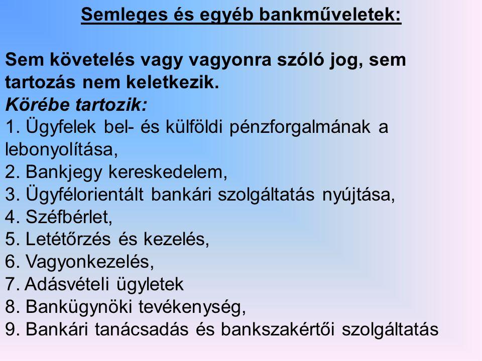 Semleges és egyéb bankműveletek: