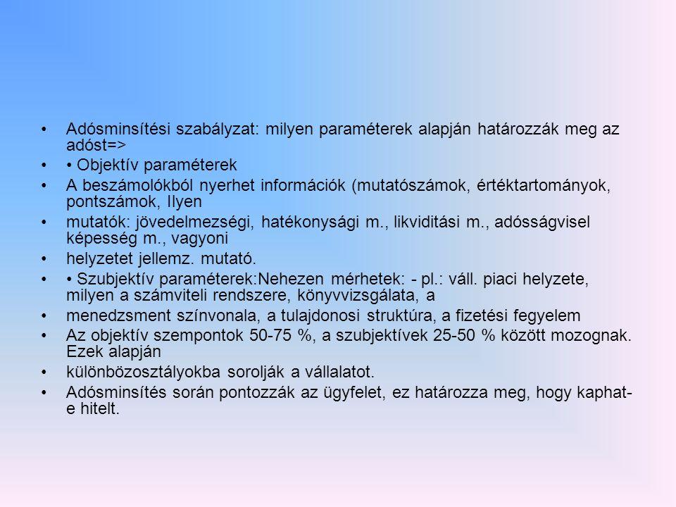Adósminsítési szabályzat: milyen paraméterek alapján határozzák meg az adóst=>