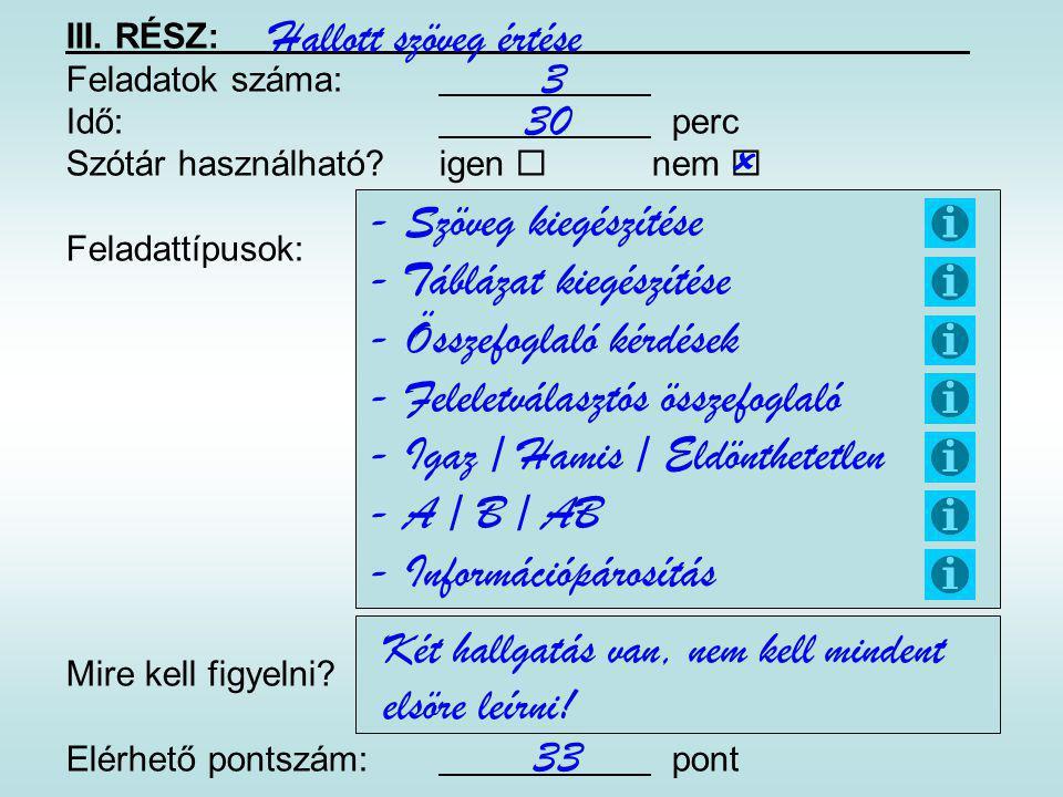 - Táblázat kiegészítése - Összefoglaló kérdések