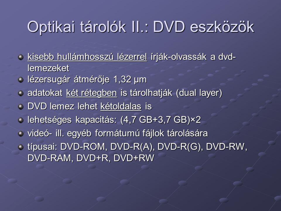 Optikai tárolók II.: DVD eszközök