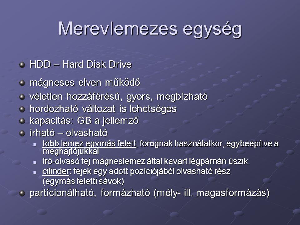 Merevlemezes egység HDD – Hard Disk Drive mágneses elven működő