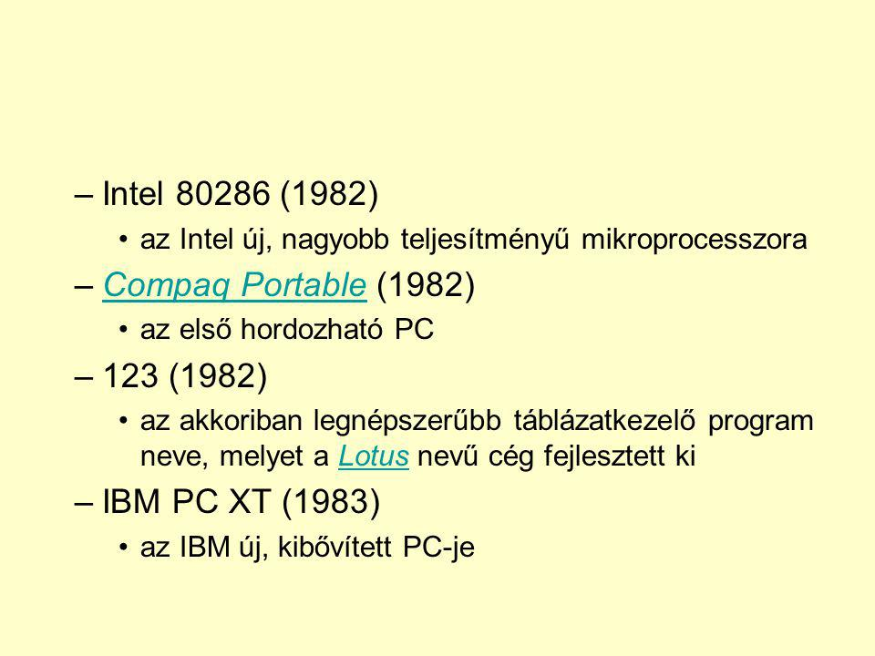 Intel 80286 (1982) Compaq Portable (1982) 123 (1982) IBM PC XT (1983)