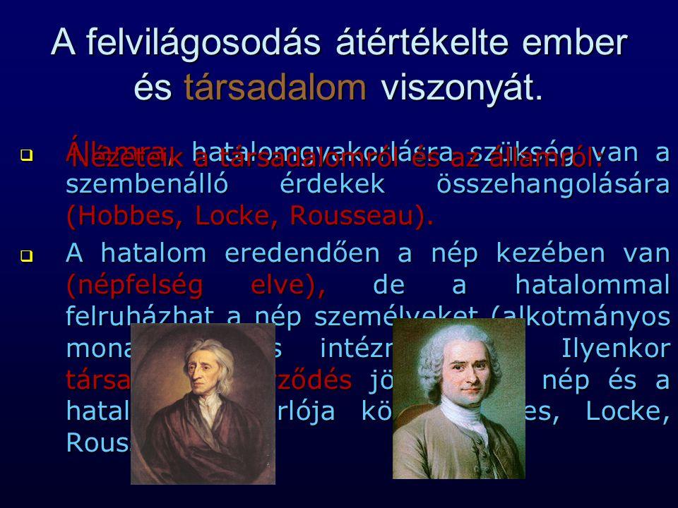 A felvilágosodás átértékelte ember és társadalom viszonyát.