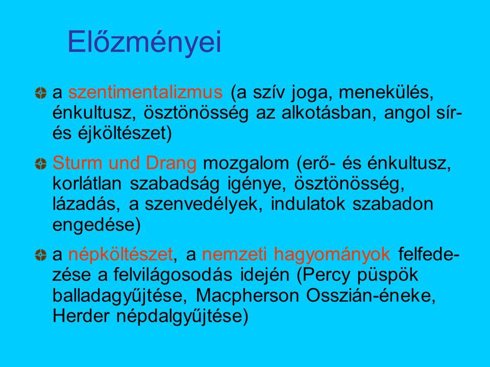 Előzményei a szentimentalizmus (a szív joga, menekülés, énkultusz, ösztönösség az alkotásban, angol sír-és éjköltészet)