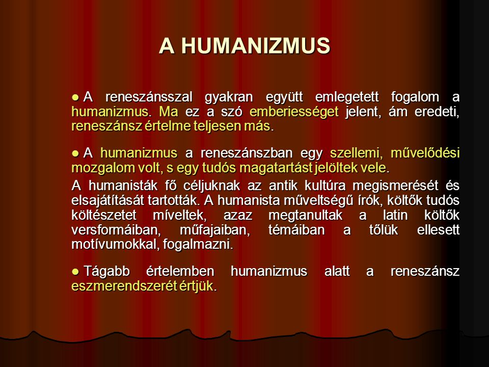 A HUMANIZMUS