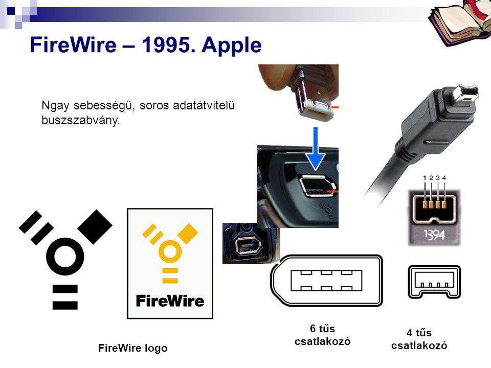 FireWire – 1995. Apple Ngay sebességű, soros adatátvitelű buszszabvány. http://en.wikipedia.org/wiki/Firewire.