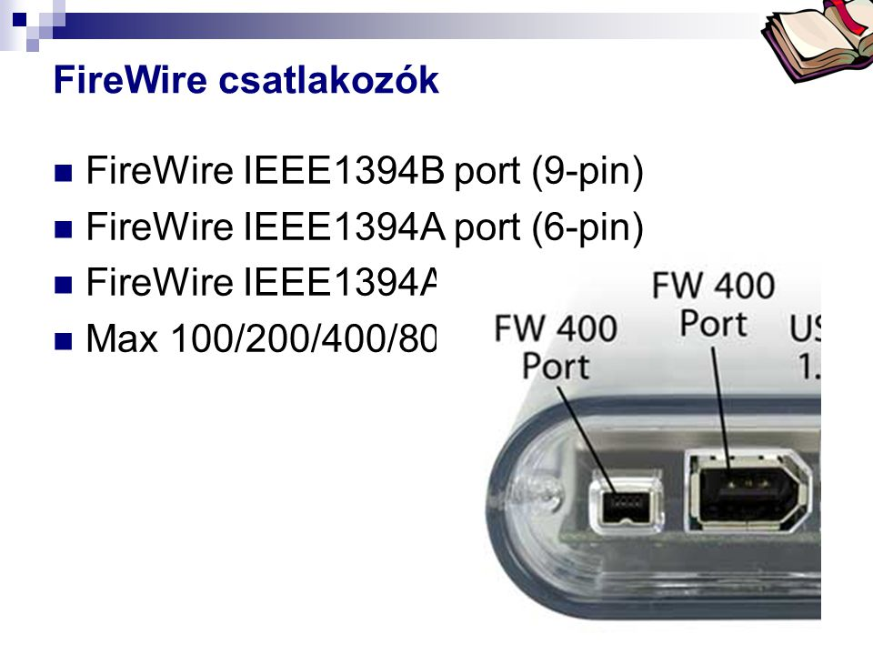 FireWire IEEE1394B port (9-pin) FireWire IEEE1394A port (6-pin)