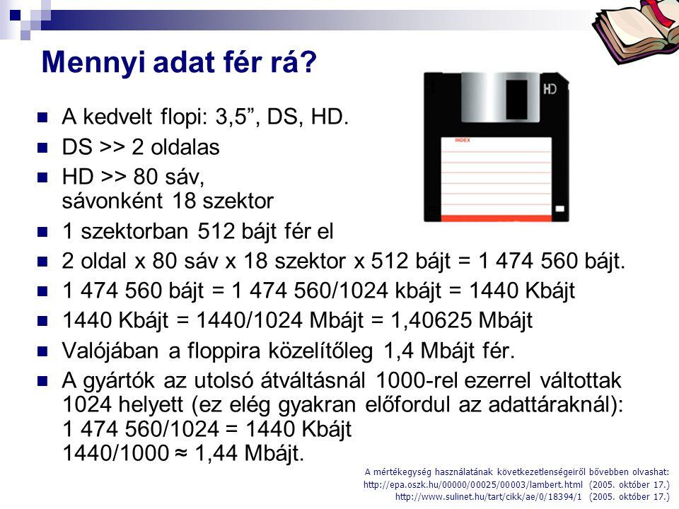 Mennyi adat fér rá A kedvelt flopi: 3,5 , DS, HD.