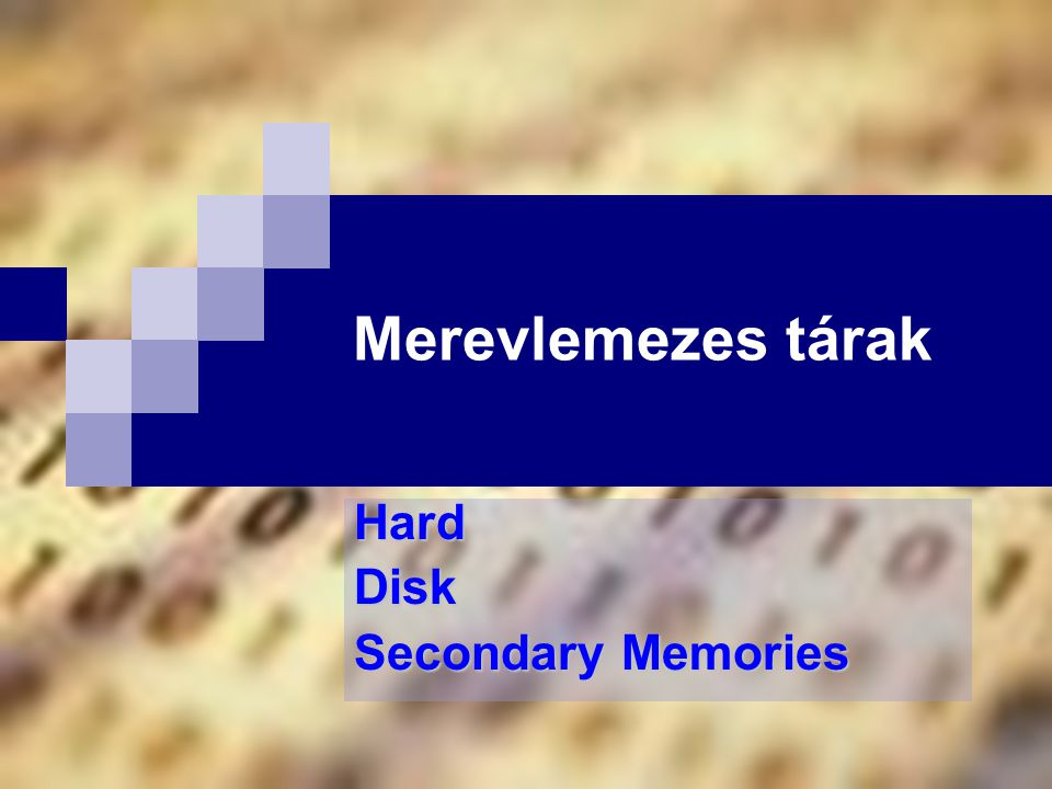 Hard Disk Secondary Memories