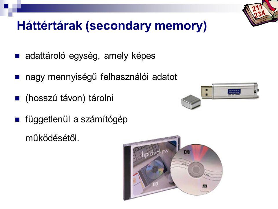 Háttértárak (secondary memory)