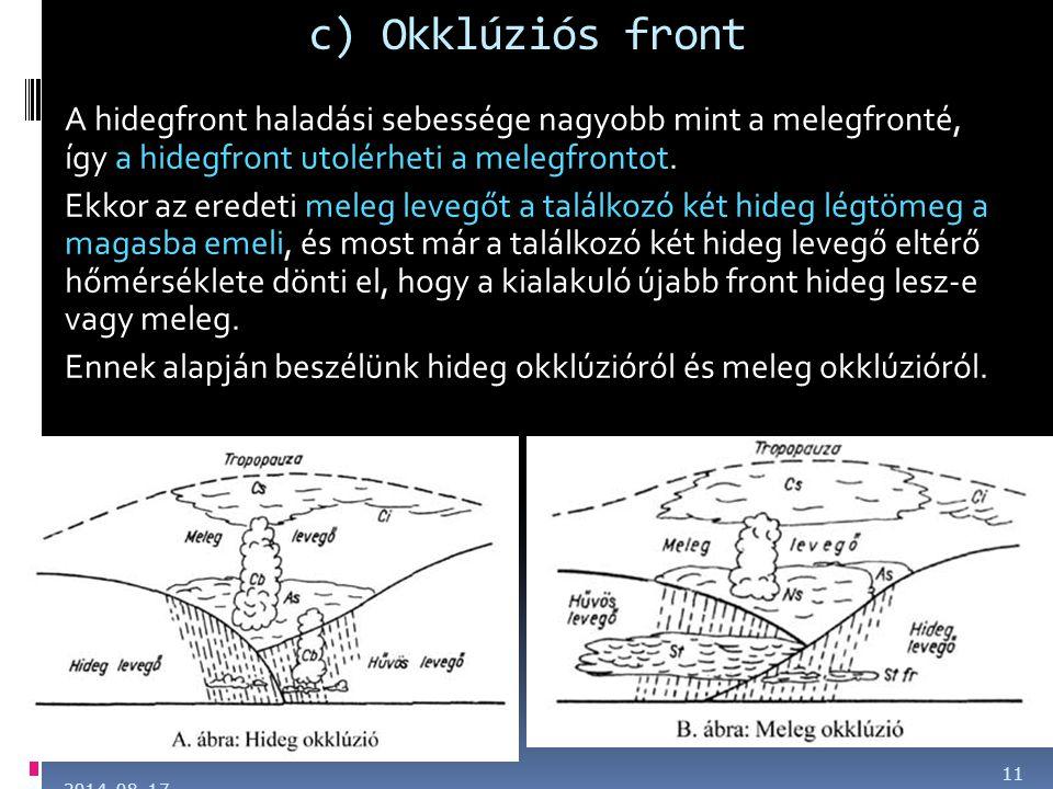 c) Okklúziós front A hidegfront haladási sebessége nagyobb mint a melegfronté, így a hidegfront utolérheti a melegfrontot.