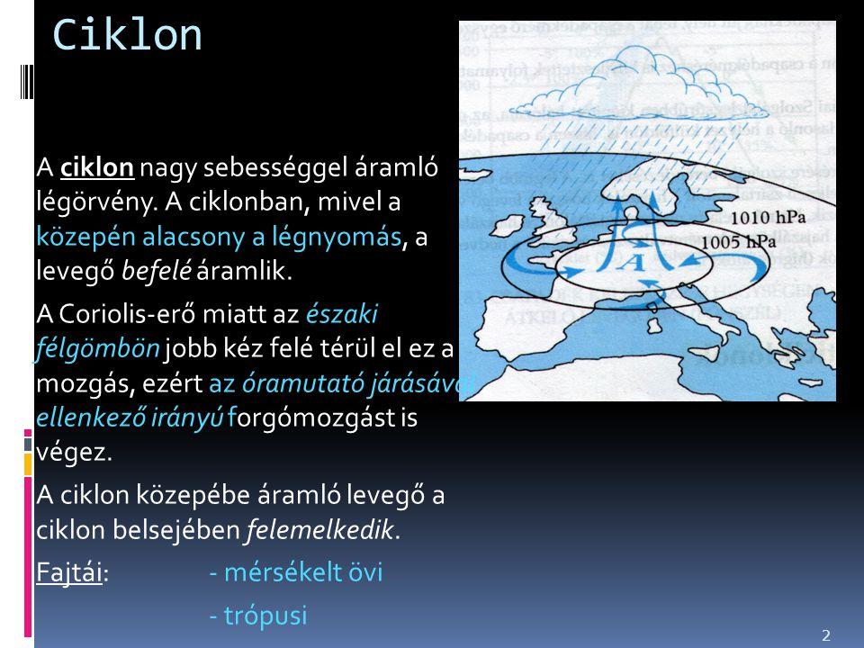Ciklon A ciklon nagy sebességgel áramló légörvény. A ciklonban, mivel a közepén alacsony a légnyomás, a levegő befelé áramlik.