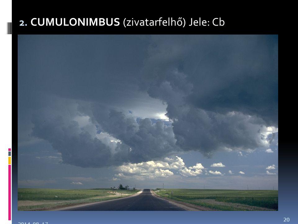 CUMULONIMBUS (zivatarfelhő) Jele: Cb