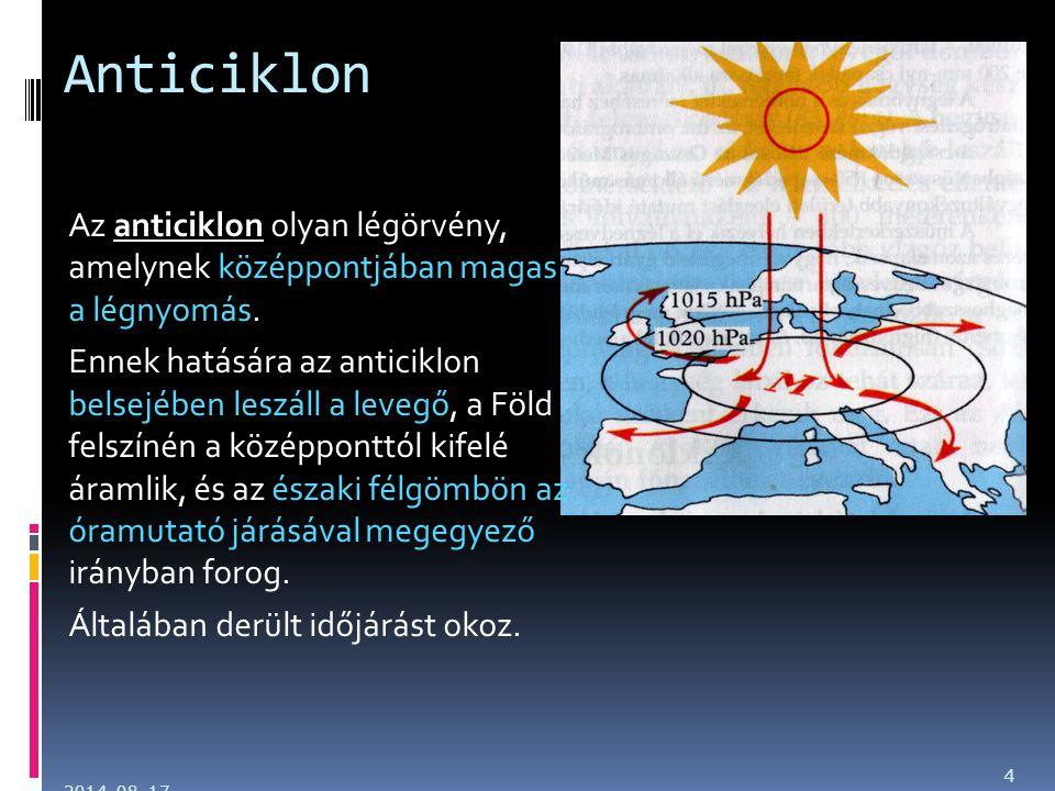 Anticiklon Az anticiklon olyan légörvény, amelynek középpontjában magas a légnyomás.