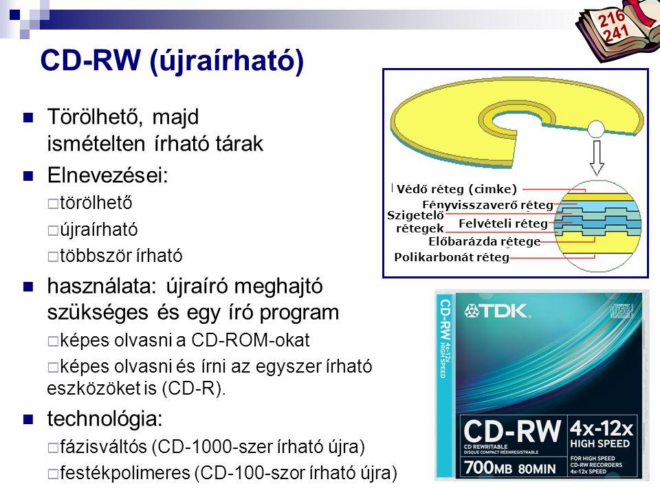 CD-RW (újraírható) Törölhető, majd ismételten írható tárak