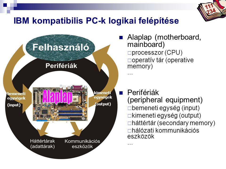 IBM kompatibilis PC-k logikai felépítése