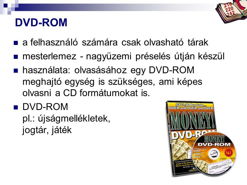 DVD-ROM a felhasználó számára csak olvasható tárak