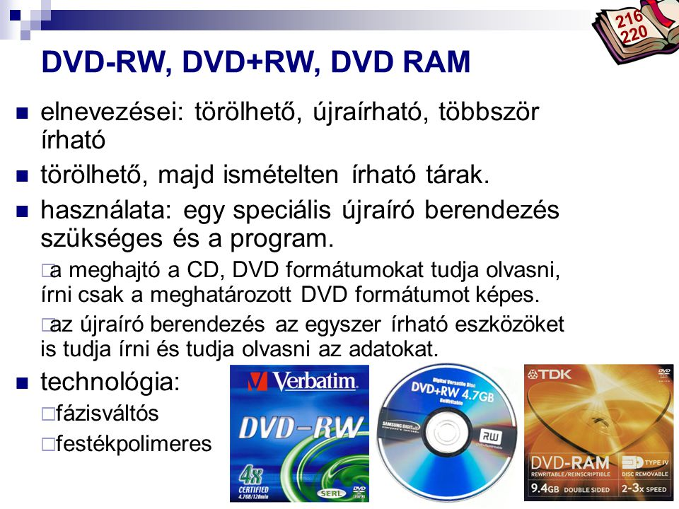216 220 DVD-RW, DVD+RW, DVD RAM. elnevezései: törölhető, újraírható, többször írható. törölhető, majd ismételten írható tárak.