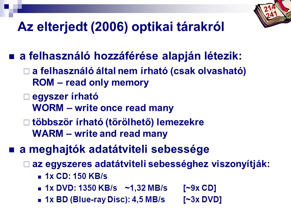 Az elterjedt (2006) optikai tárakról