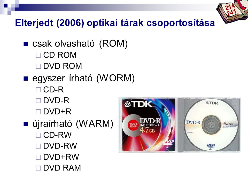 Elterjedt (2006) optikai tárak csoportosítása