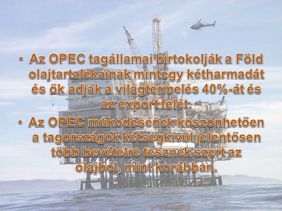 Az OPEC tagállamai birtokolják a Föld olajtartalékainak mintegy kétharmadát és ők adják a világtermelés 40%-át és az export felét.