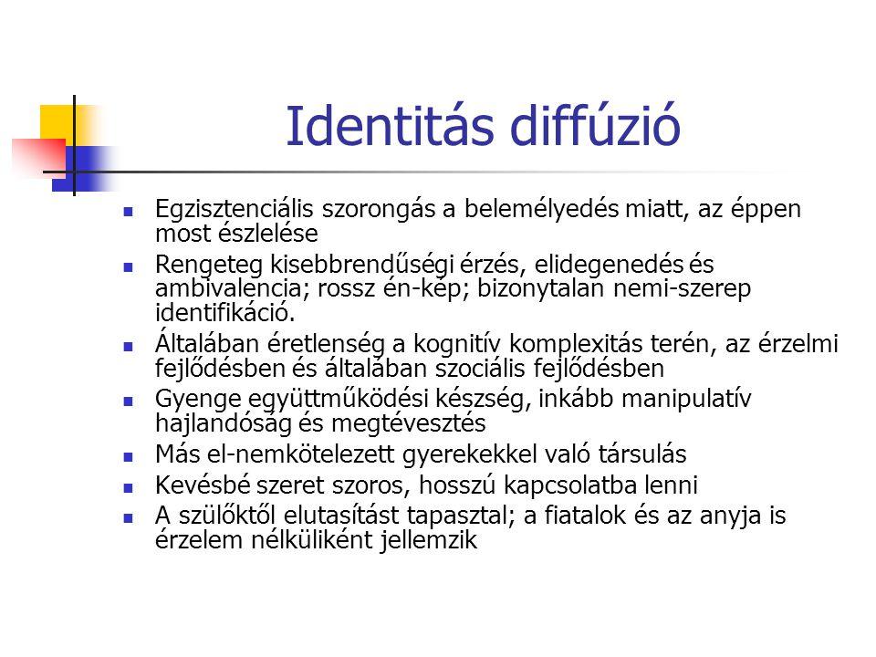 Identitás diffúzió Egzisztenciális szorongás a belemélyedés miatt, az éppen most észlelése.