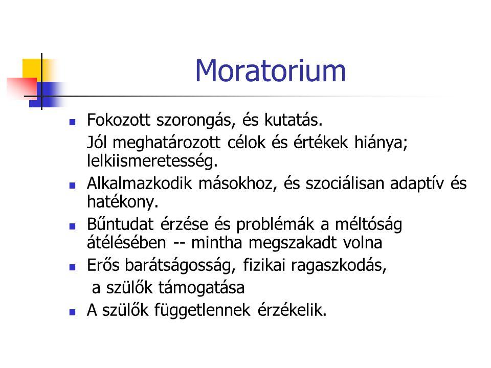 Moratorium Fokozott szorongás, és kutatás.