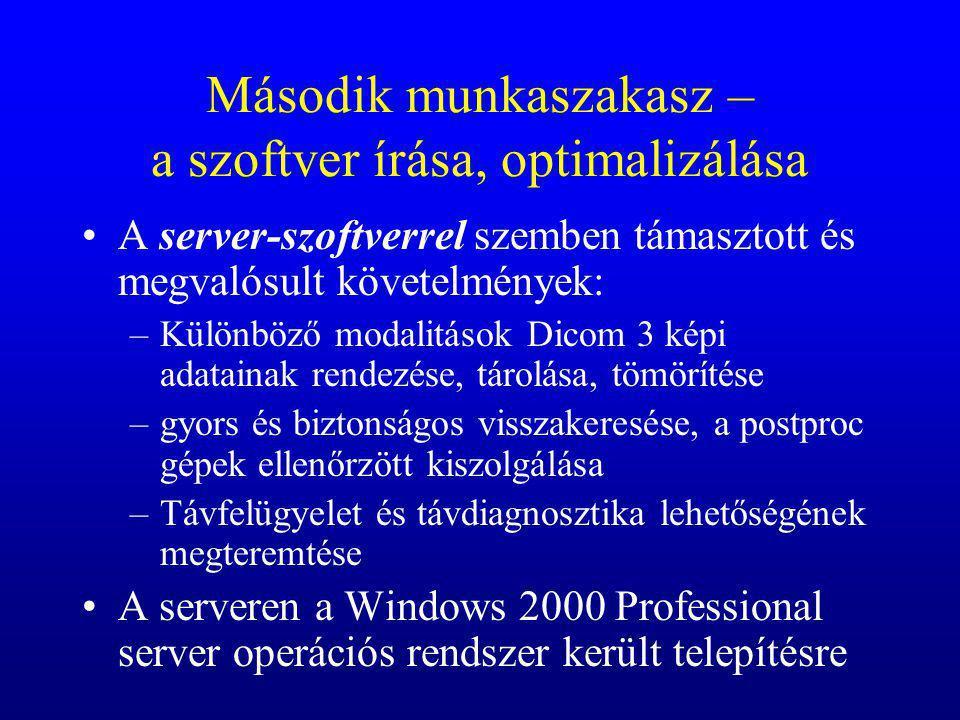 Második munkaszakasz – a szoftver írása, optimalizálása