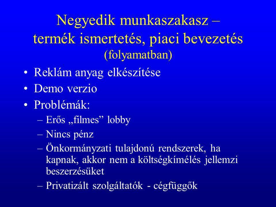 Negyedik munkaszakasz – termék ismertetés, piaci bevezetés (folyamatban)