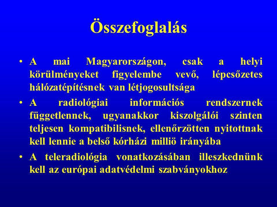 Összefoglalás A mai Magyarországon, csak a helyi körülményeket figyelembe vevő, lépcsőzetes hálózatépítésnek van létjogosultsága.