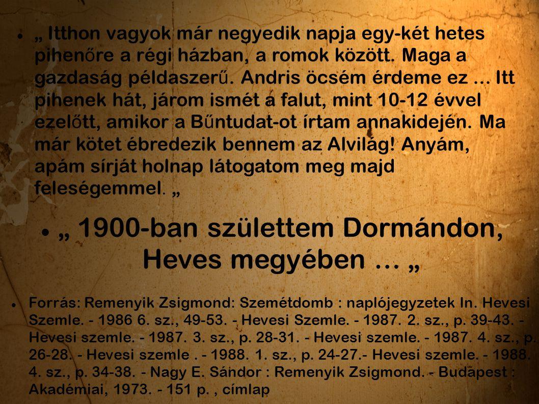 """"""" 1900-ban születtem Dormándon, Heves megyében … """""""