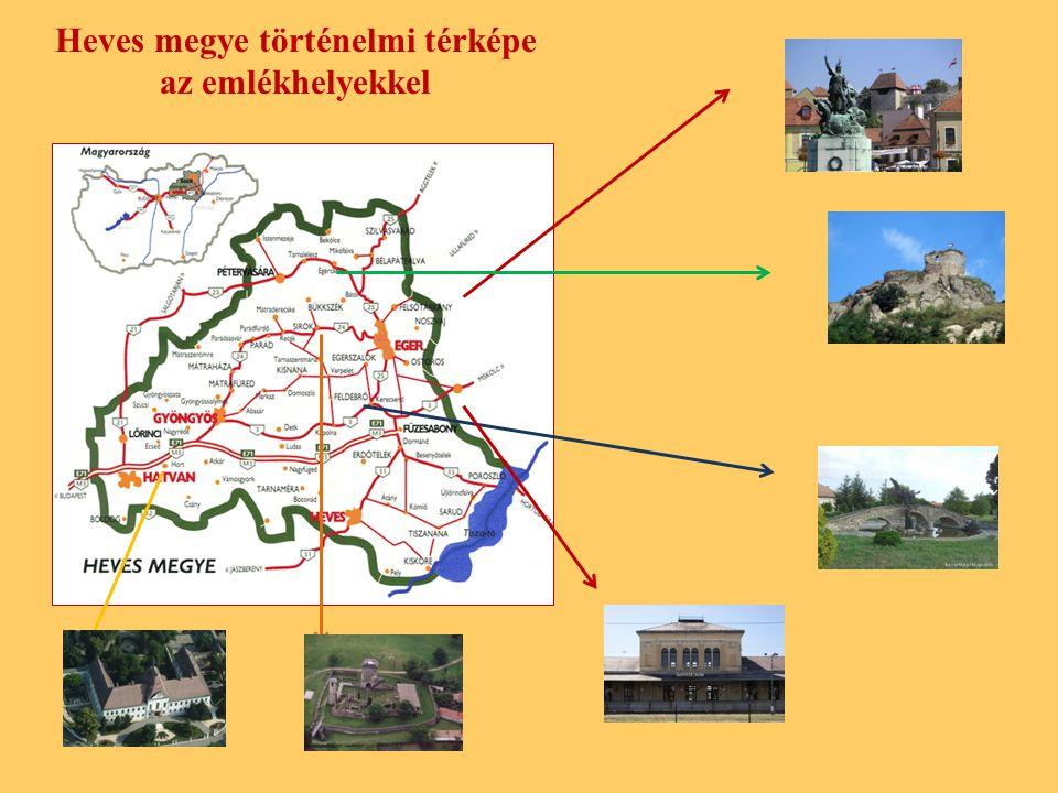 Heves megye történelmi térképe az emlékhelyekkel