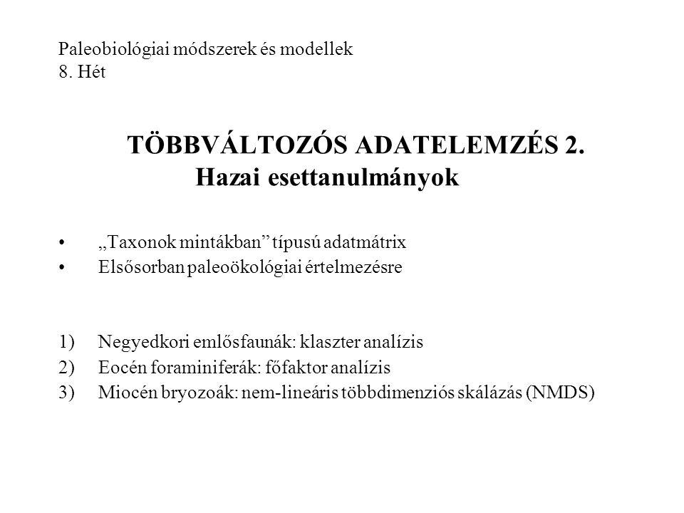 Paleobiológiai módszerek és modellek 8. Hét TÖBBVÁLTOZÓS ADATELEMZÉS 2. Hazai esettanulmányok
