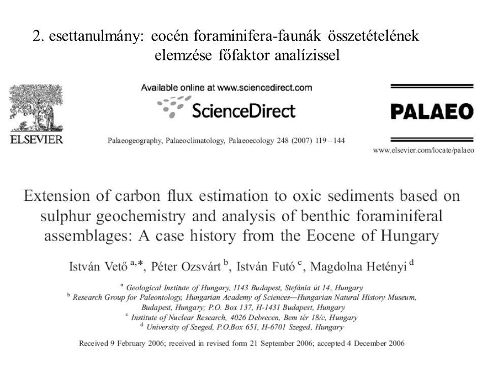2. esettanulmány: eocén foraminifera-faunák összetételének