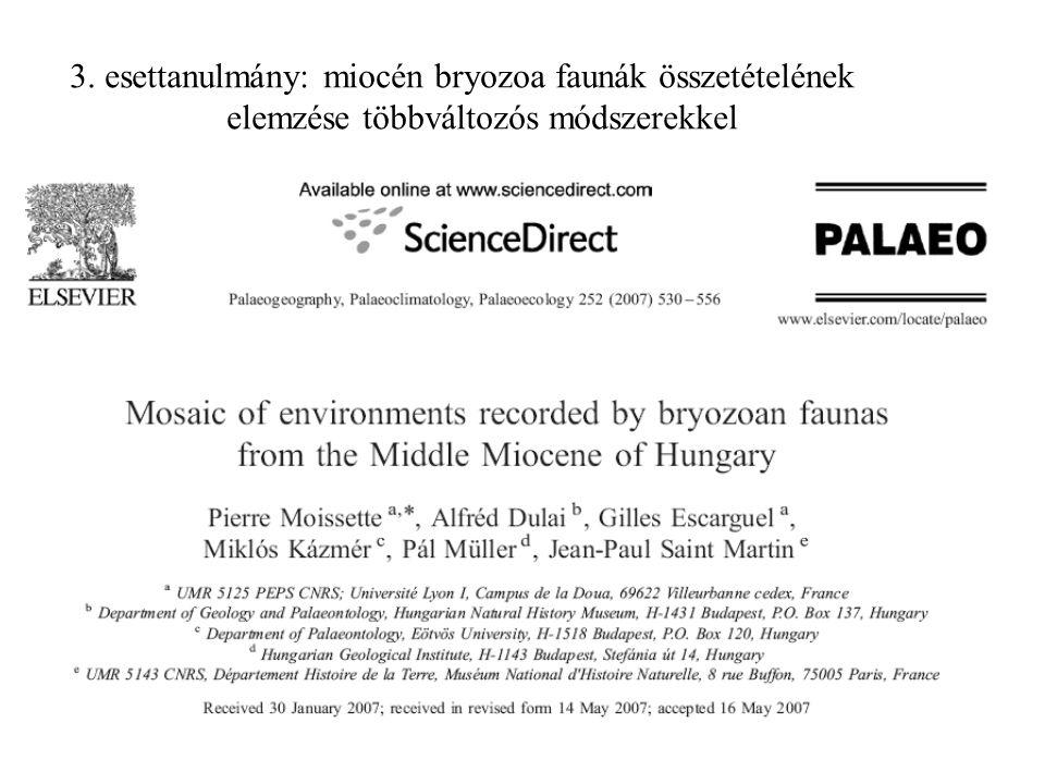 3. esettanulmány: miocén bryozoa faunák összetételének