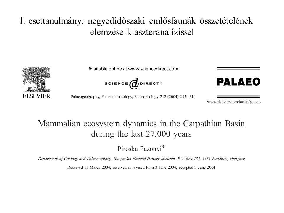 1. esettanulmány: negyedidőszaki emlősfaunák összetételének