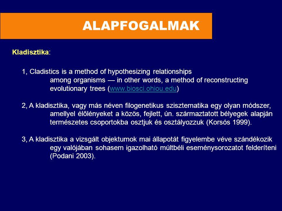 ALAPFOGALMAK Kladisztika: