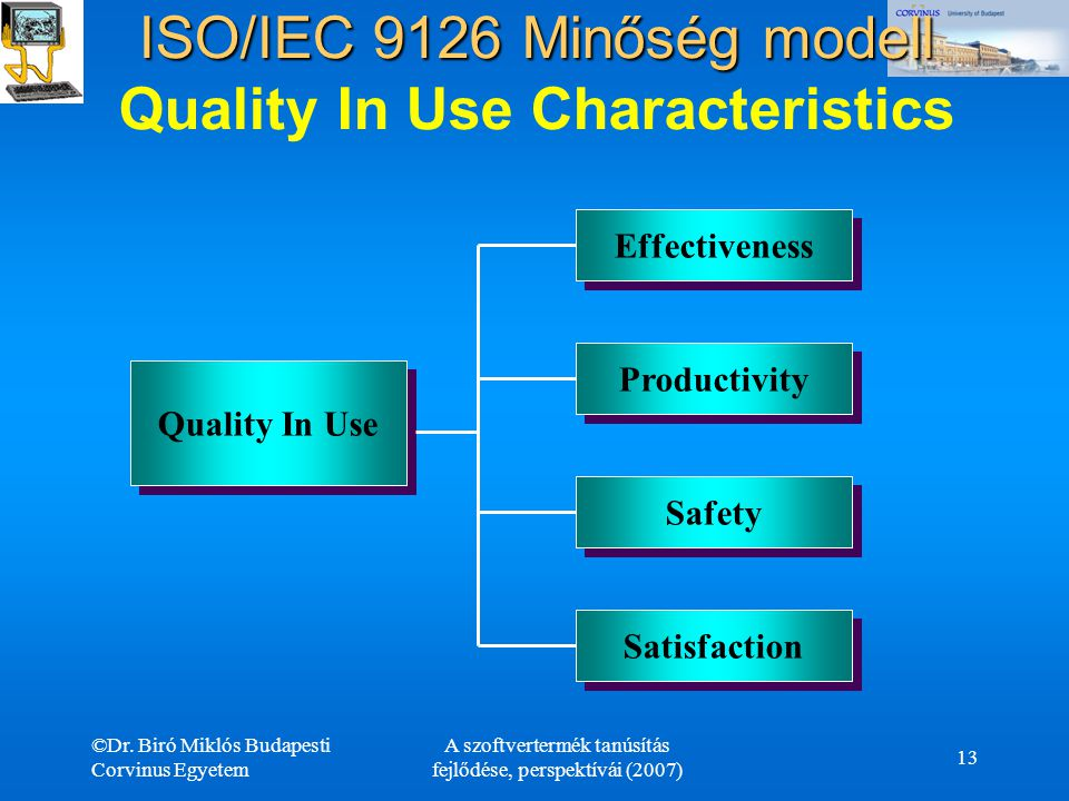 ISO/IEC 9126 Minőség modell Quality In Use Characteristics