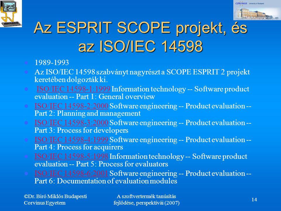 Az ESPRIT SCOPE projekt, és az ISO/IEC 14598